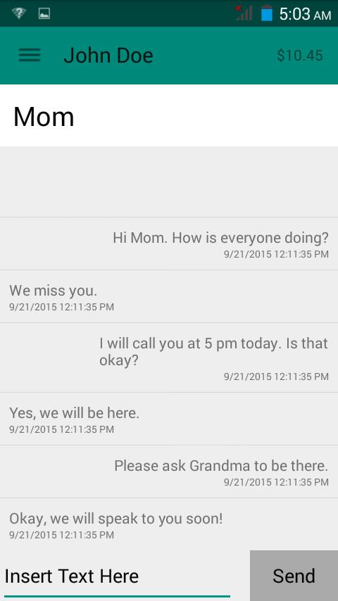 Sample Text Message App Screen